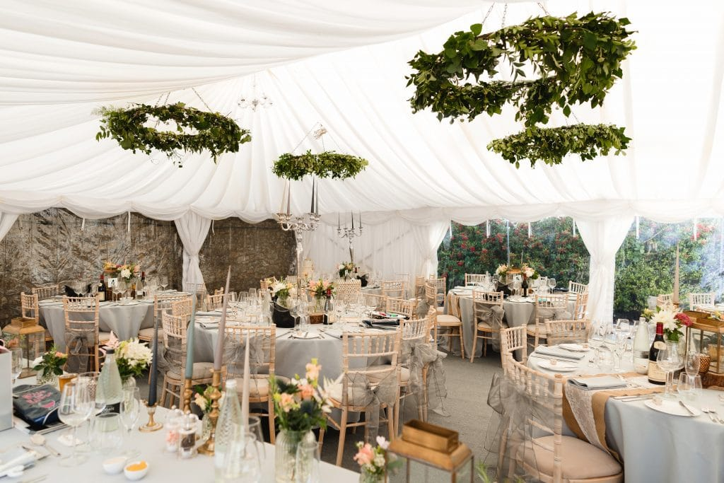 Inside the private garden marquee